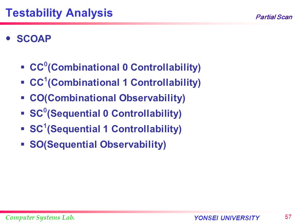 Computer Systems Lab. YONSEI UNIVERSITY 56 Partial Scan Testability Analysis Perform testability measure Based on the results, select FFs Continue the