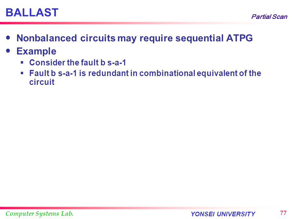 Computer Systems Lab. YONSEI UNIVERSITY 76 Partial Scan BALLAST Example