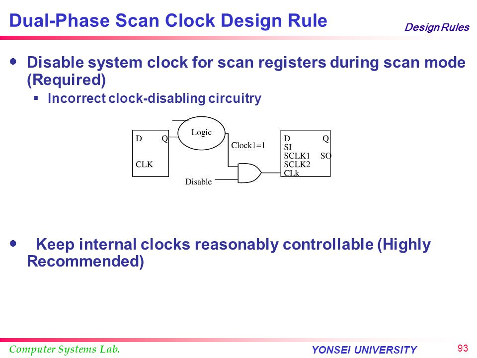 Computer Systems Lab. YONSEI UNIVERSITY 92 Design Rules Dual-Phase Scan Clock Design Two-phased scan clock scan chain