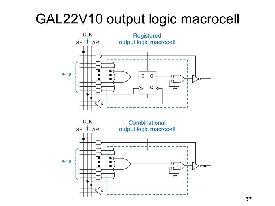 37 GAL22V10 output logic macrocell
