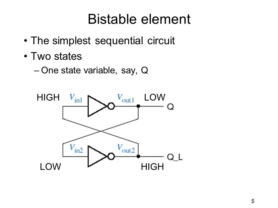 5 Bistable element The simplest sequential circuit Two states –One state variable, say, Q HIGHLOW HIGH