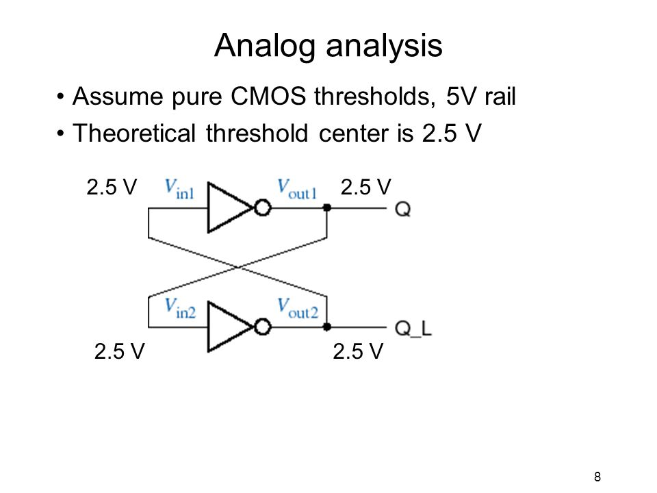 8 Analog analysis Assume pure CMOS thresholds, 5V rail Theoretical threshold center is 2.5 V 2.5 V
