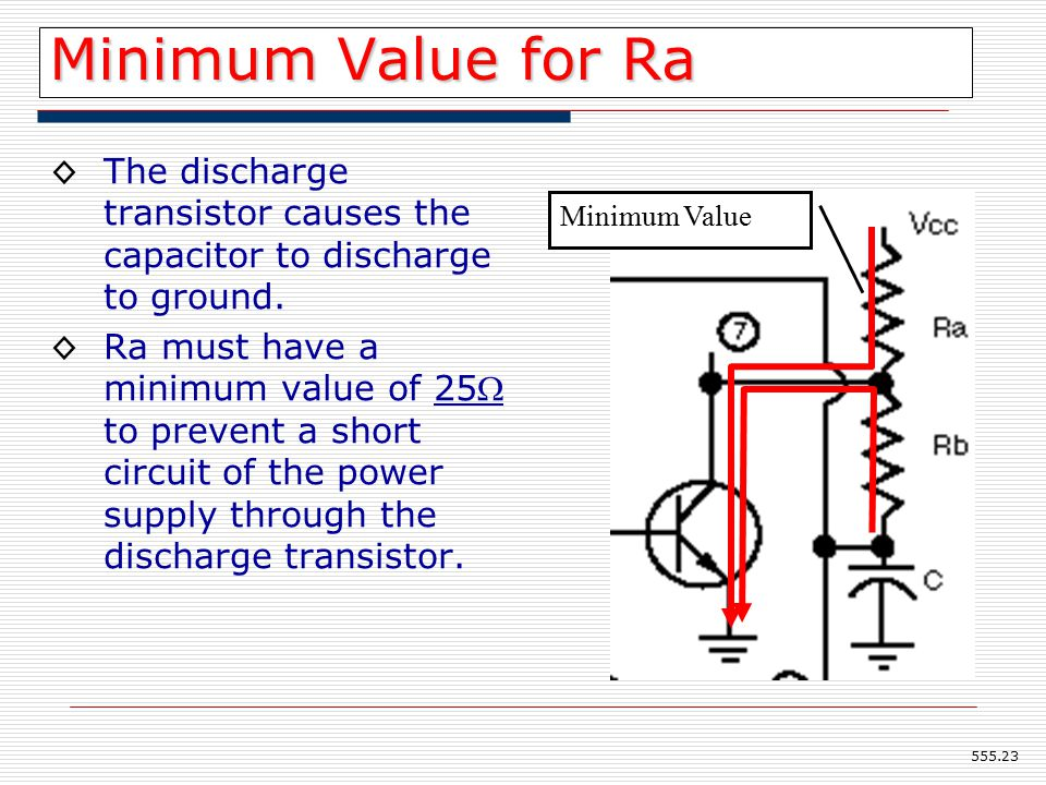 Minimum Value for Ra ◊The discharge transistor causes the capacitor to discharge to ground.