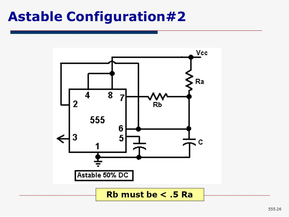 Astable Configuration#2 Rb must be <.5 Ra 555.26
