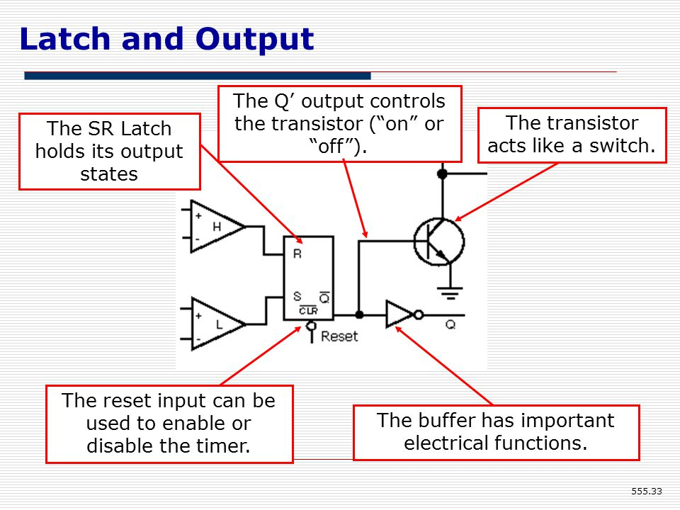 Latch and Output The Q' output controls the transistor ( on or off ).