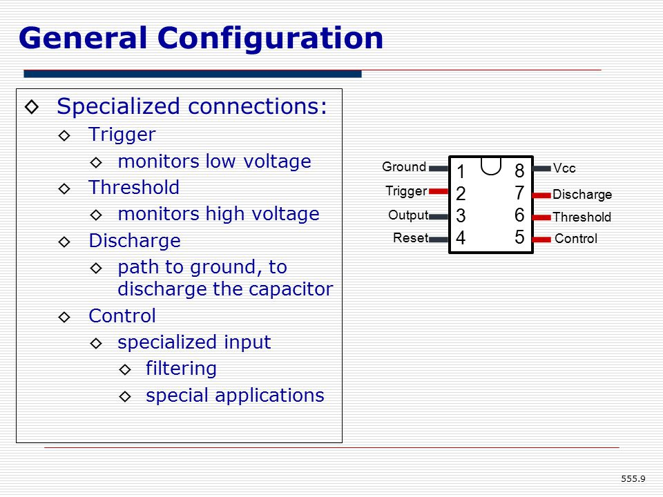 General Configuration ◊Specialized connections: ◊Trigger ◊monitors low voltage ◊Threshold ◊monitors high voltage ◊Discharge ◊path to ground, to discharge the capacitor ◊Control ◊specialized input ◊filtering ◊special applications 555.9 12341234 87658765 Ground Trigger Output Reset Vcc Discharge Threshold Control
