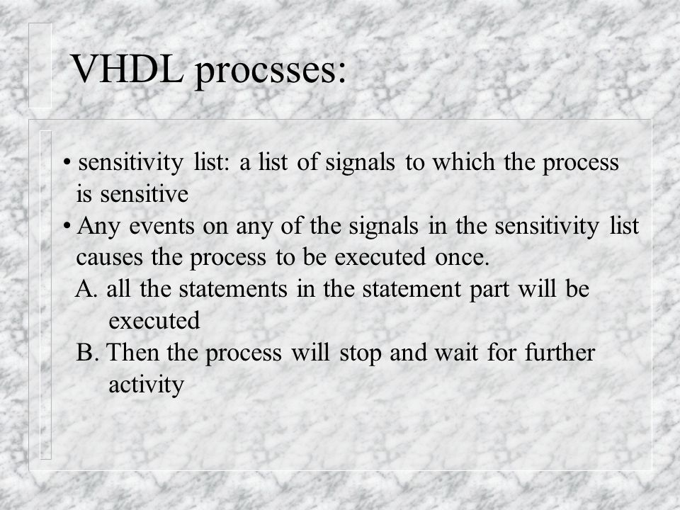 Complete If statement: process (a,b, enable) begin z <= a; if enable = '1' z <= b; --- else part is missing end if; end process; process (a,b, enable) begin if enable = '1' z <= b; else z <= a; end if; end process;