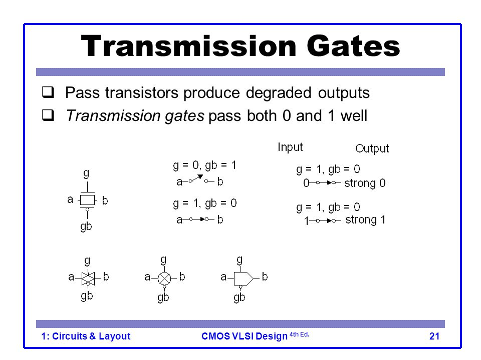 CMOS VLSI Design 4th Ed. 1: Circuits & Layout21 Transmission Gates  Pass transistors produce degraded outputs  Transmission gates pass both 0 and 1