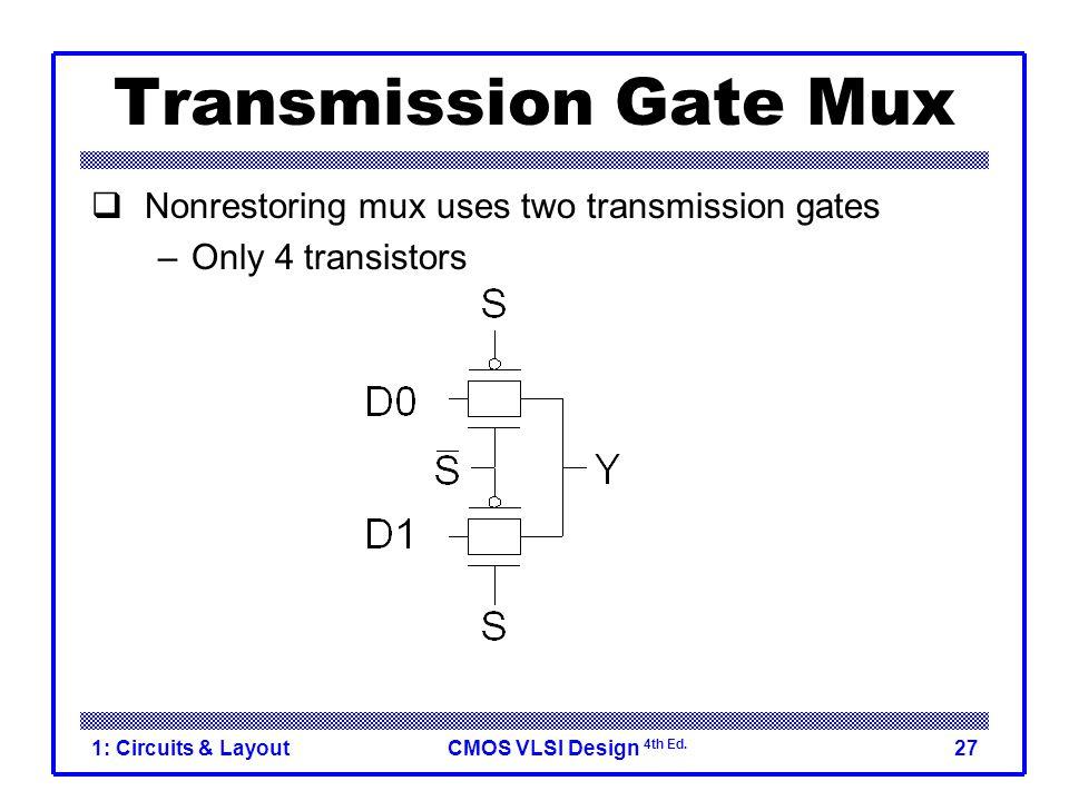 CMOS VLSI Design 4th Ed. 1: Circuits & Layout27 Transmission Gate Mux  Nonrestoring mux uses two transmission gates –Only 4 transistors