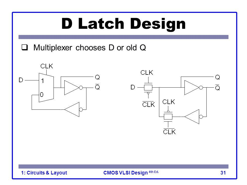 CMOS VLSI Design 4th Ed. 1: Circuits & Layout31 D Latch Design  Multiplexer chooses D or old Q