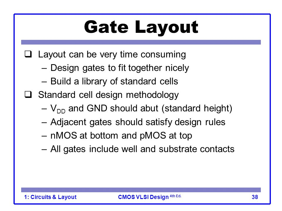 CMOS VLSI Design 4th Ed. 1: Circuits & Layout38 Gate Layout  Layout can be very time consuming –Design gates to fit together nicely –Build a library