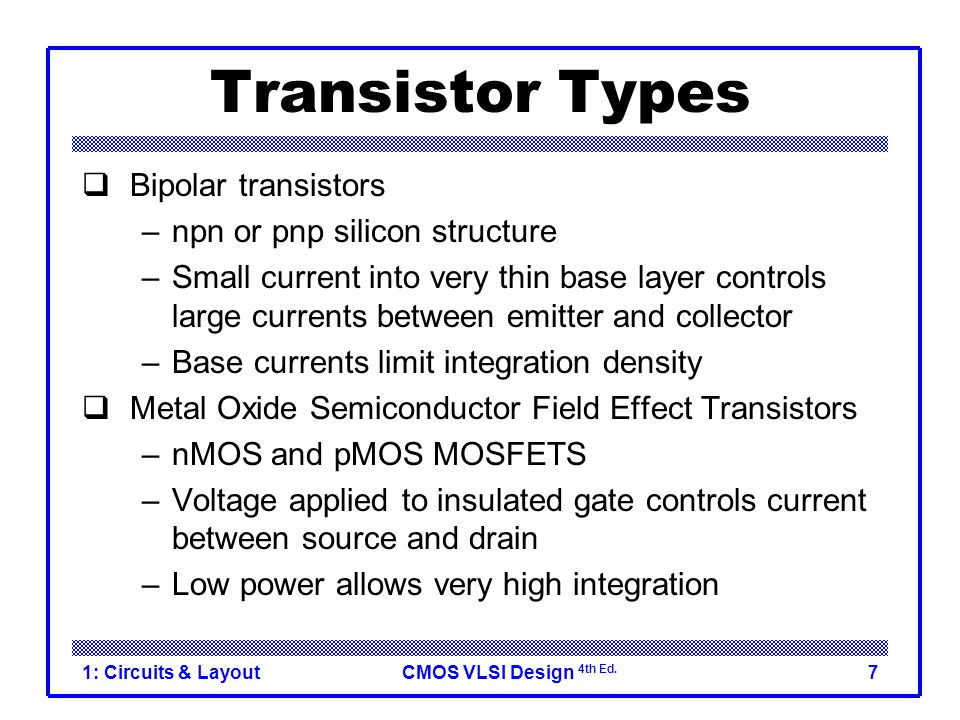 CMOS VLSI Design 4th Ed. 1: Circuits & Layout7 Transistor Types  Bipolar transistors –npn or pnp silicon structure –Small current into very thin base
