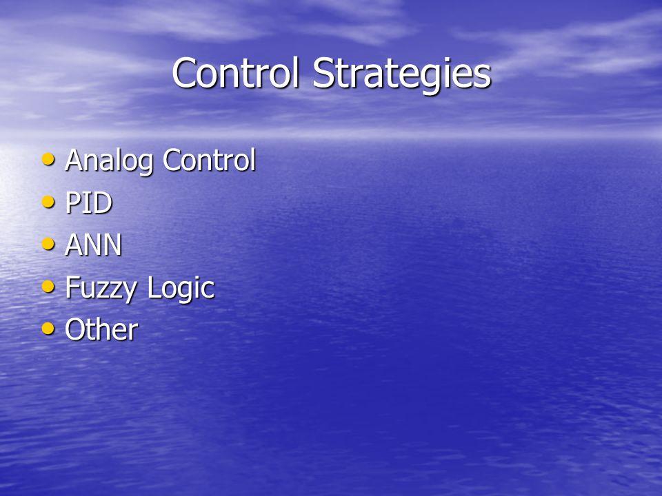 Control Strategies Analog Control Analog Control PID PID ANN ANN Fuzzy Logic Fuzzy Logic Other Other
