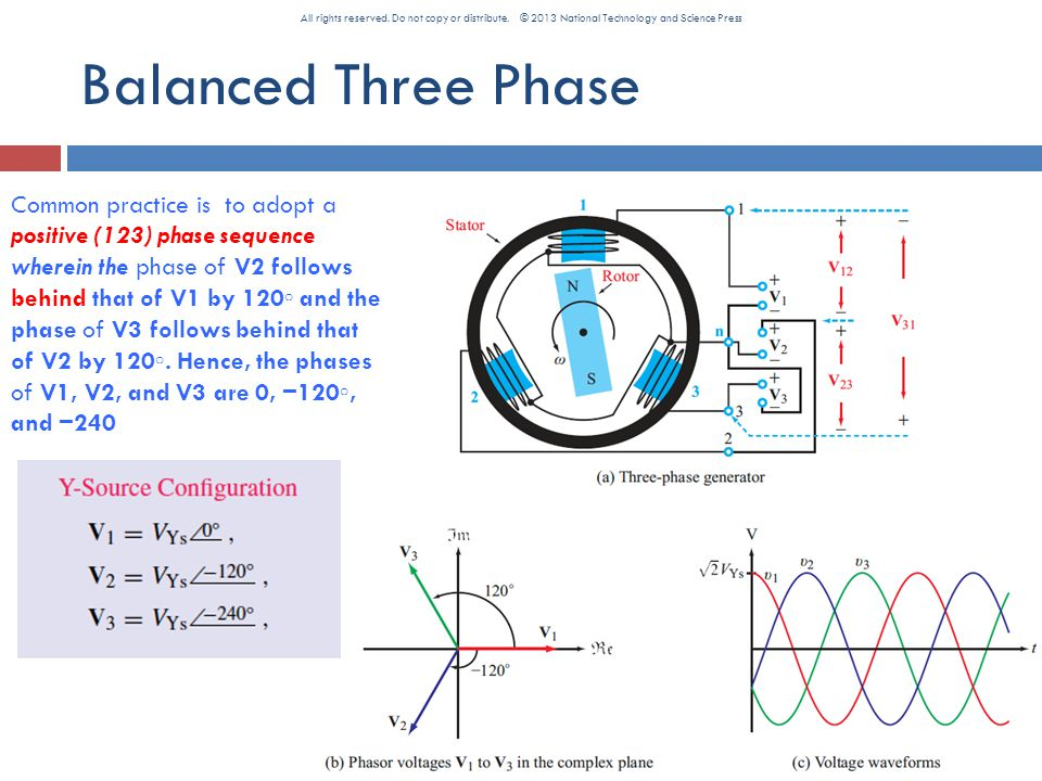 Balanced Three Phase Common practice is to adopt a positive (123) phase sequence wherein the phase of V2 follows behind that of V1 by 120 ◦ and the phase of V3 follows behind that of V2 by 120 ◦.