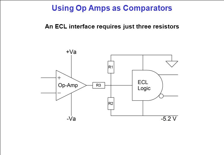 Using Op Amps as Comparators An ECL interface requires just three resistors