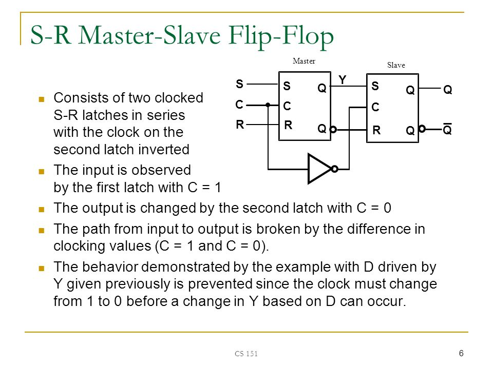CS 151 17 Flip-Flop Solution Use edge-triggering instead of pulse-triggering (master-slave) An edge-triggered flip-flop ignores the pulse while it is at a constant level and triggers only during a transition of the clock signal  Positive-edge (0-to-1 transition)  Negative-edge (1-to-0 transition) Edge-triggered flip-flops can be built directly at the electronic circuit level, or A master-slave D flip-flop which also exhibits edge- triggered behavior can be used.