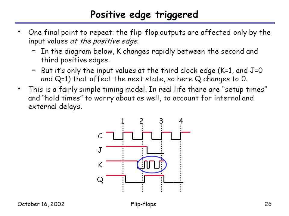 October 16, 2002Flip-flops26 Positive edge triggered One final point to repeat: the flip-flop outputs are affected only by the input values at the positive edge.