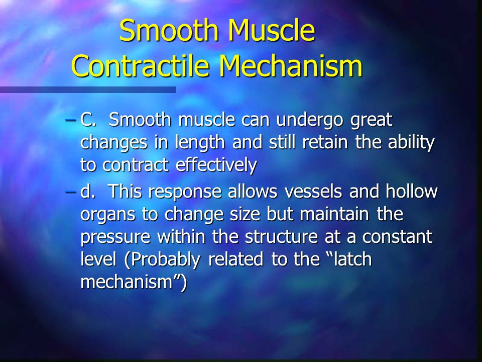 Smooth Muscle Contractile Mechanism –C. Smooth muscle can undergo great changes in length and still retain the ability to contract effectively –d. Thi