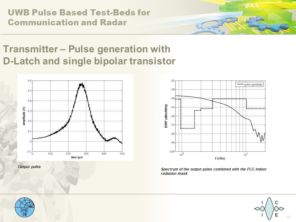 UWB Pulse Based Test-Beds for Communication and Radar IME 16 Transmitter – Pulse generation with D-Latch and single bipolar transistor Output pulse Sp