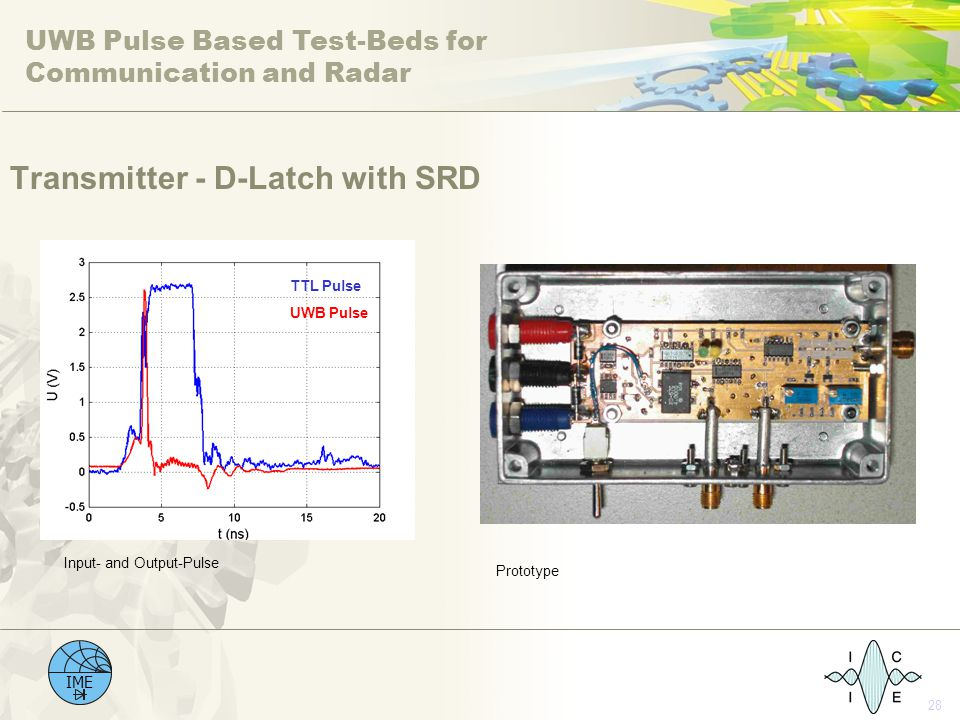 UWB Pulse Based Test-Beds for Communication and Radar IME 28 Transmitter - D-Latch with SRD TTL Pulse UWB Pulse Input- and Output-Pulse Prototype