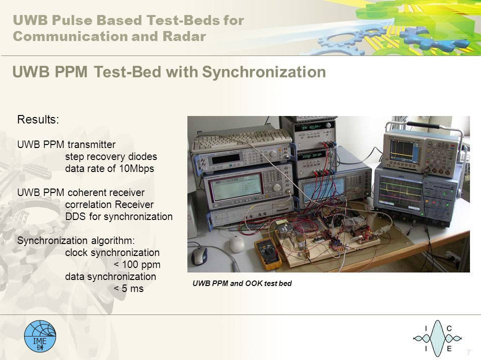 UWB Pulse Based Test-Beds for Communication and Radar IME 7 UWB PPM Test-Bed with Synchronization Results: UWB PPM transmitter step recovery diodes da