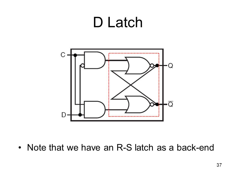37 D Latch Note that we have an R-S latch as a back-end