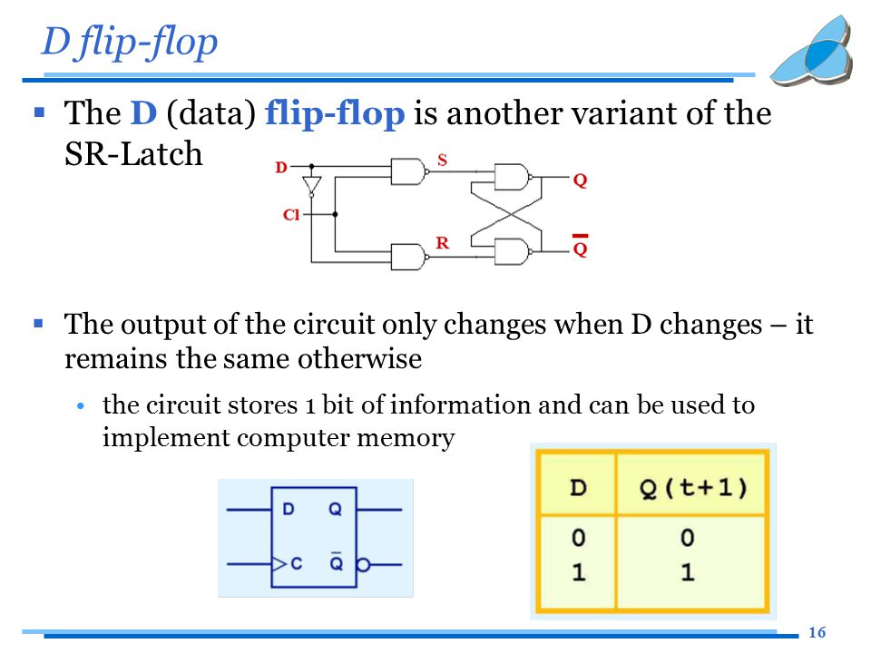 16 D flip-flop  The D (data) flip-flop is another variant of the SR-Latch  The output of the circuit only changes when D changes – it remains the sa