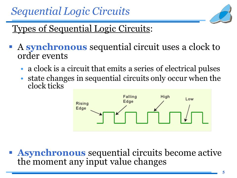 5 Sequential Logic Circuits Types of Sequential Logic Circuits:  A synchronous sequential circuit uses a clock to order events a clock is a circuit t