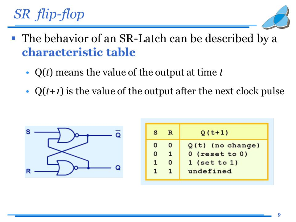 9 SR flip-flop  The behavior of an SR-Latch can be described by a characteristic table Q(t) means the value of the output at time t Q(t+1) is the value of the output after the next clock pulse