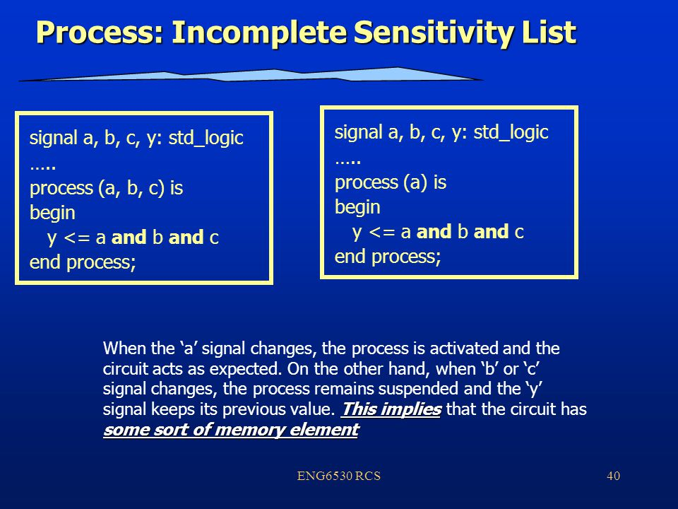 ENG6530 RCS40 Process: Incomplete Sensitivity List signal a, b, c, y: std_logic …..