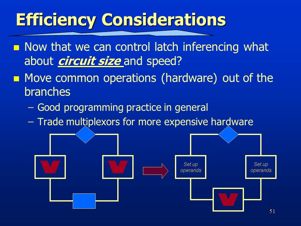 51 Efficiency Considerations circuit size Now that we can control latch inferencing what about circuit size and speed.