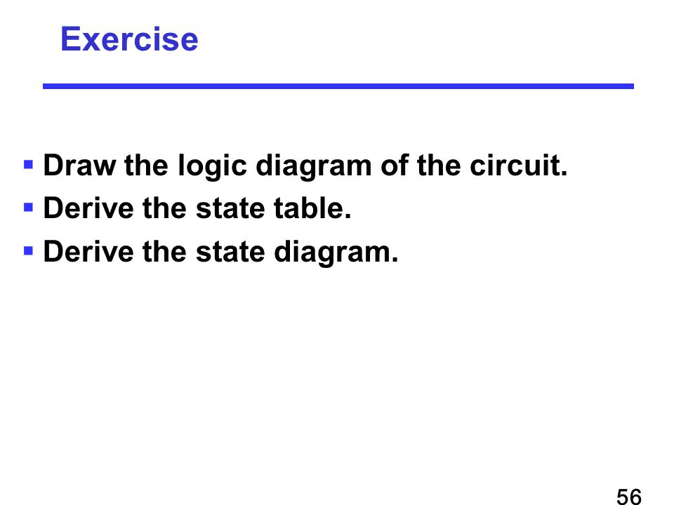  Draw the logic diagram of the circuit.  Derive the state table.
