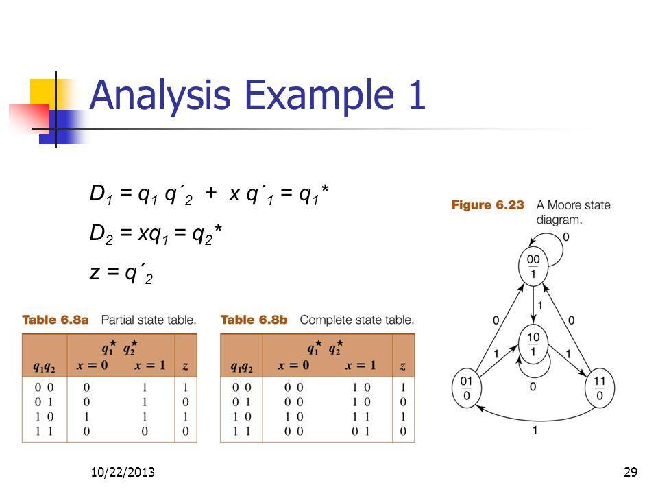 10/22/201329 Analysis Example 1 D 1 = q 1 q´ 2 + x q´ 1 = q 1 * D 2 = xq 1 = q 2 * z = q´ 2