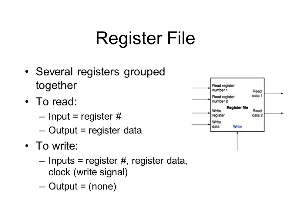 Register File Several registers grouped together To read: –Input = register # –Output = register data To write: –Inputs = register #, register data, clock (write signal) –Output = (none)