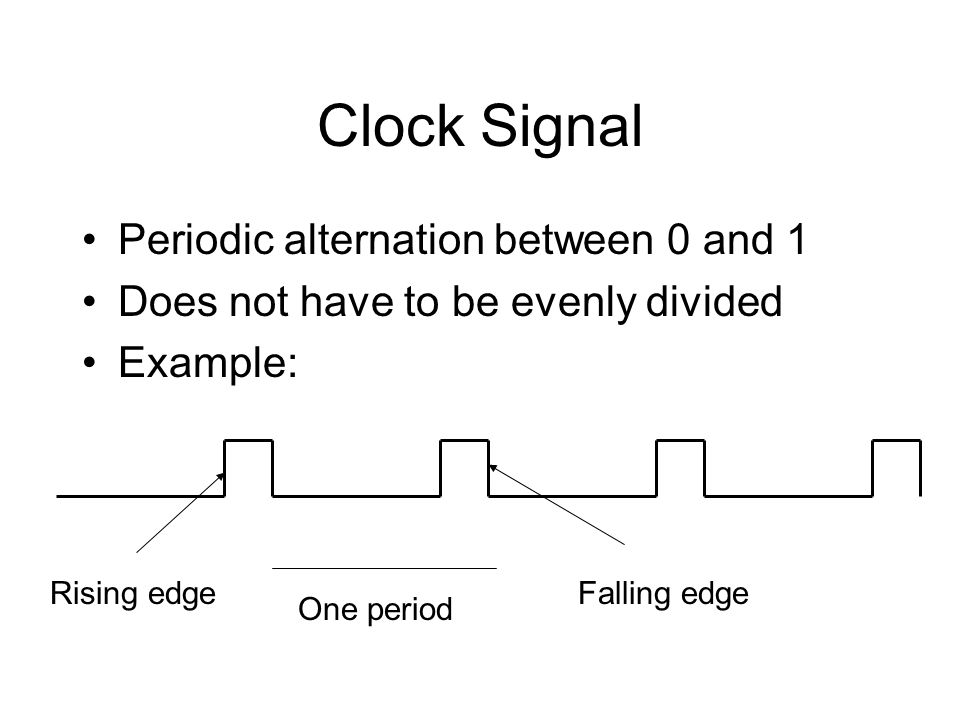 Clock Signal Periodic alternation between 0 and 1 Does not have to be evenly divided Example: One period Rising edgeFalling edge