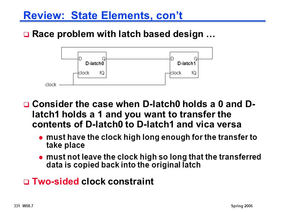 331 W08.7Spring 2006 Review: State Elements, con't  Race problem with latch based design …  Consider the case when D-latch0 holds a 0 and D- latch1