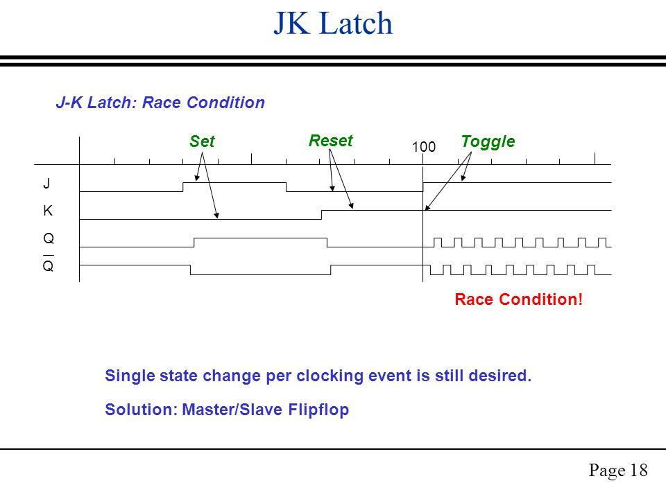 Page 18 JK Latch J-K Latch: Race Condition Race Condition.