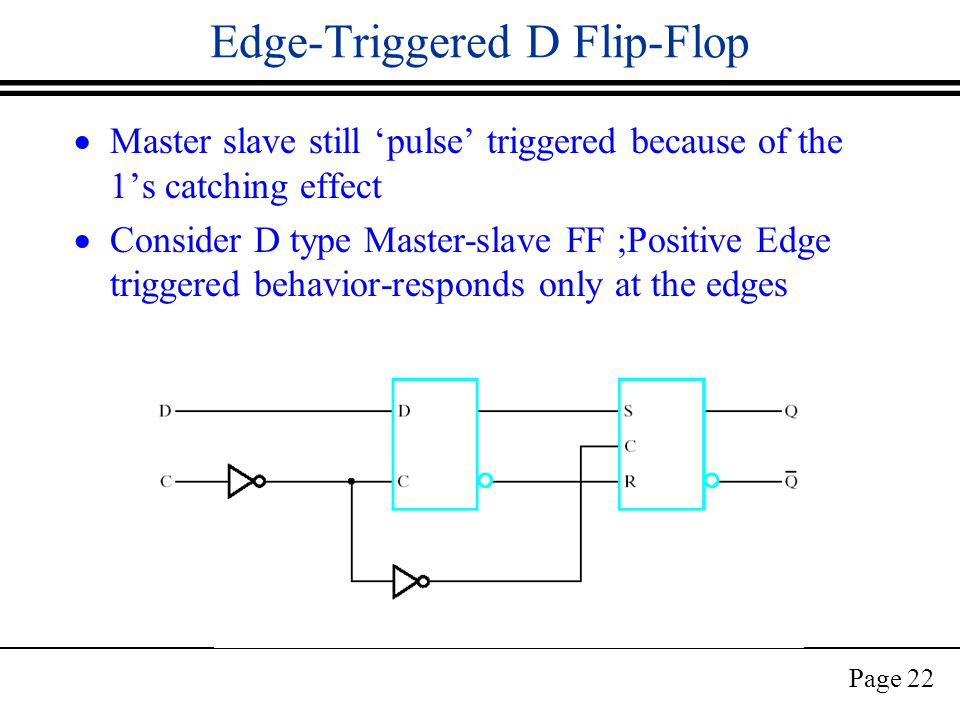 Page 22 Edge-Triggered D Flip-Flop  Master slave still 'pulse' triggered because of the 1's catching effect  Consider D type Master-slave FF ;Positive Edge triggered behavior-responds only at the edges