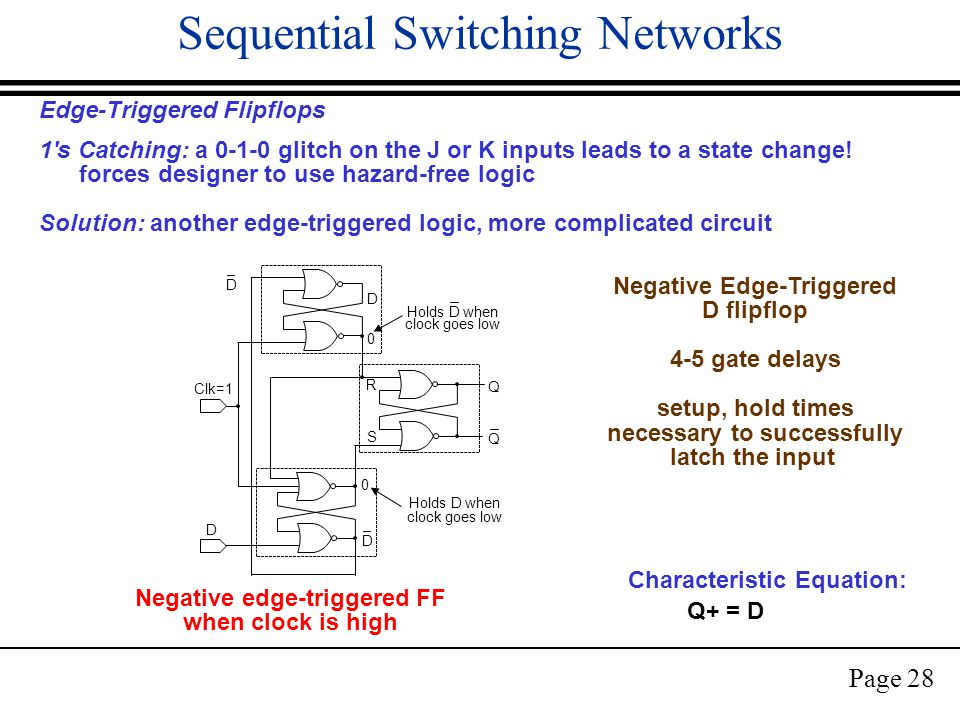 Page 28 Sequential Switching Networks Edge-Triggered Flipflops 1 s Catching: a 0-1-0 glitch on the J or K inputs leads to a state change.