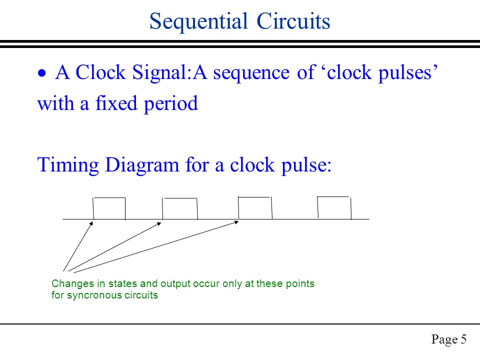 Page 5 Sequential Circuits  A Clock Signal:A sequence of 'clock pulses' with a fixed period Timing Diagram for a clock pulse: Changes in states and output occur only at these points for syncronous circuits