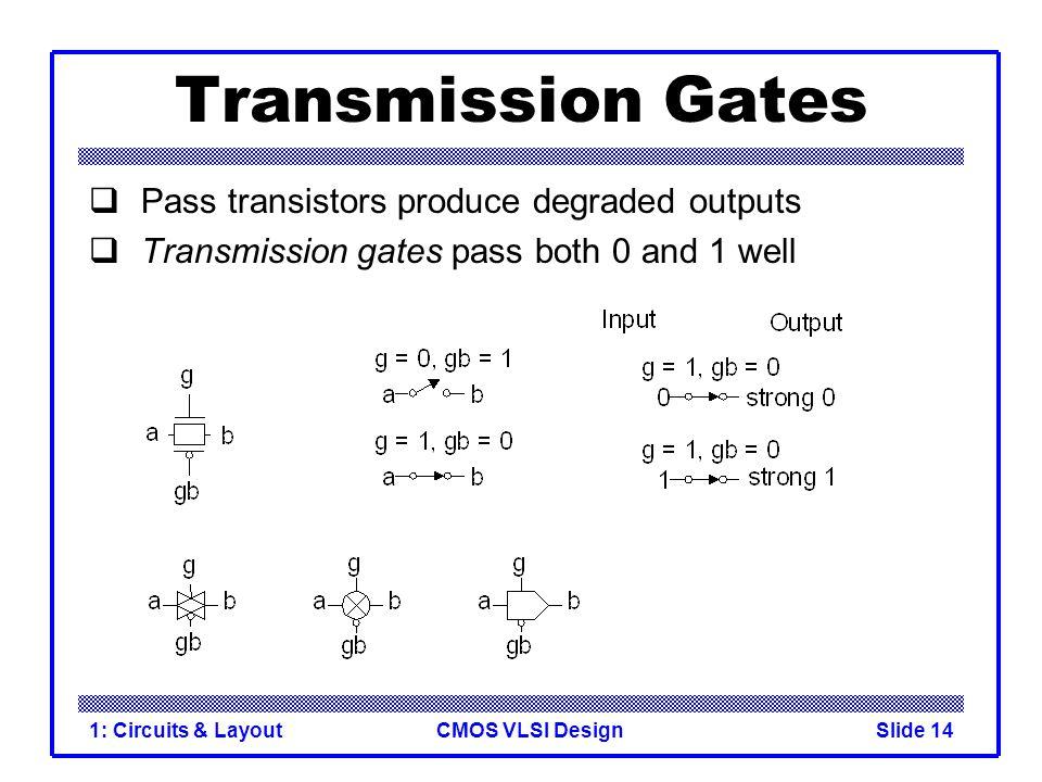 CMOS VLSI Design1: Circuits & LayoutSlide 14 Transmission Gates  Pass transistors produce degraded outputs  Transmission gates pass both 0 and 1 wel