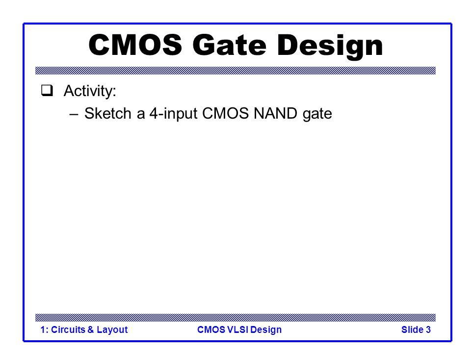 CMOS VLSI Design1: Circuits & LayoutSlide 3 CMOS Gate Design  Activity: –Sketch a 4-input CMOS NAND gate