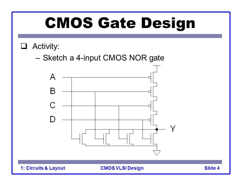 CMOS VLSI Design1: Circuits & LayoutSlide 5 Complementary CMOS  Complementary CMOS logic gates –nMOS pull-down network –pMOS pull-up network Pull-up OFFPull-up ON Pull-down OFFZ (float)1 Pull-down ON0X (crowbar)