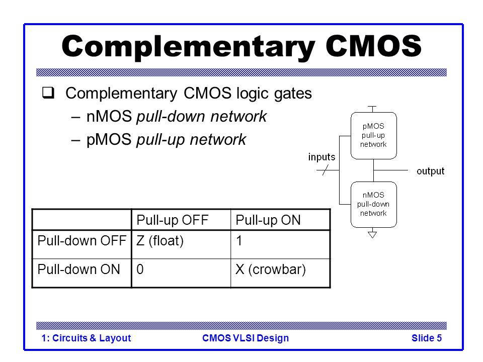 CMOS VLSI Design1: Circuits & LayoutSlide 5 Complementary CMOS  Complementary CMOS logic gates –nMOS pull-down network –pMOS pull-up network Pull-up