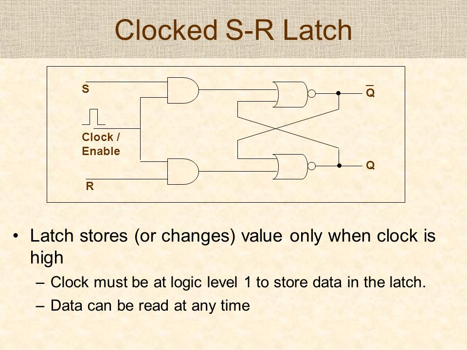 Clocked S-R Latch Latch stores (or changes) value only when clock is high –Clock must be at logic level 1 to store data in the latch. –Data can be rea