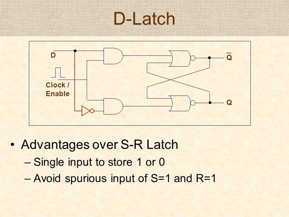 D-Latch Advantages over S-R Latch –Single input to store 1 or 0 –Avoid spurious input of S=1 and R=1 D Q Q Clock / Enable