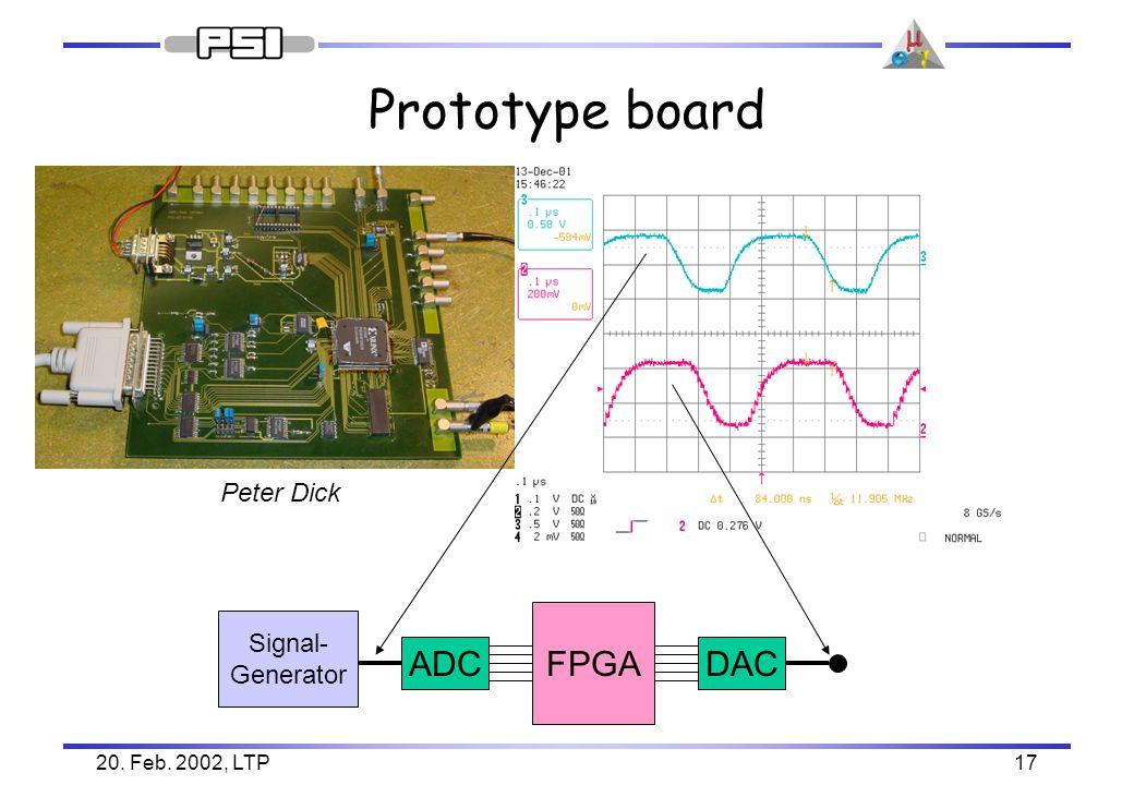 20. Feb. 2002, LTP17 Prototype board ADC Signal- Generator DAC FPGA Peter Dick