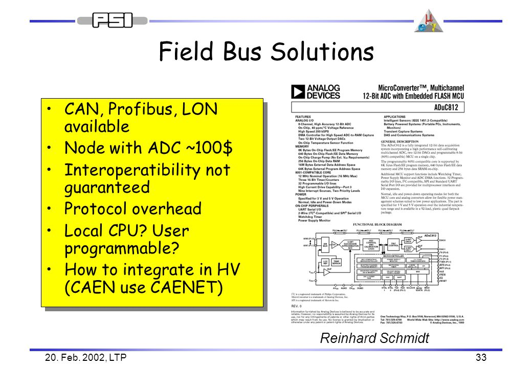 20. Feb. 2002, LTP33 Field Bus Solutions CAN, Profibus, LON available Node with ADC ~100$ Interoperatibility not guaranteed Protocol overhead Local CP
