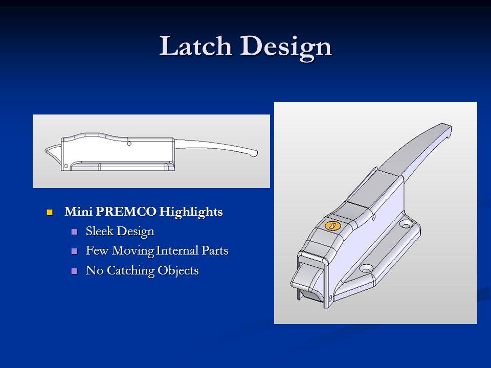 Latch Design Mini PREMCO Highlights Mini PREMCO Highlights Sleek Design Sleek Design Few Moving Internal Parts Few Moving Internal Parts No Catching O