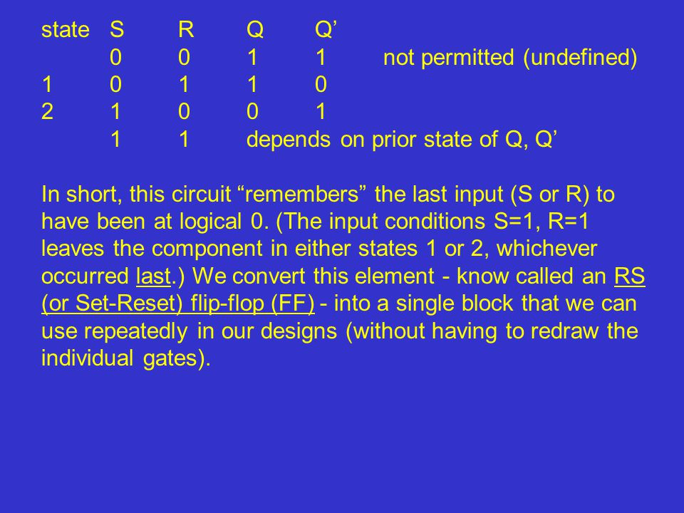 """stateSRQQ' 0011not permitted (undefined) 10110 21001 11depends on prior state of Q, Q' In short, this circuit """"remembers"""" the last input (S or R) to h"""